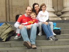 Our family on the steps of St. Paul's Cathedral, before the boys took off for the game.