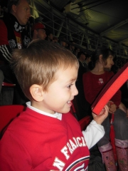 Cheering for the 9ers! (with his first foam finger)